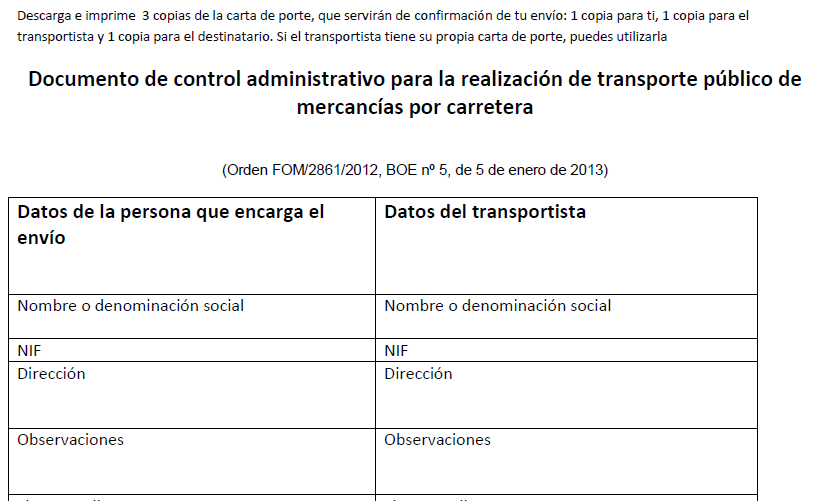 documento de control de transporte